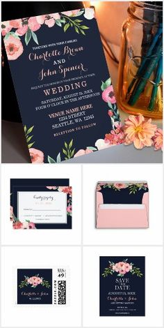 Romantic Floral Flowers WEDDING SET COLLECTION Navy Blue & Peach Chic Pretty Personalized Wedding Set Invites Wedding Garden Botanical Announcements Invitations Postage Stamps Envelopes RSVP Thank You Cards & More!