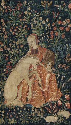 The Lady In Tweed — Millefleurs tapestry Circa Sotheby's The Lady In Tweed – Millefleurs Wandteppich Um Sotheby's Medieval Tapestry, Medieval Art, Renaissance Art, Sculpture Textile, Unicorn Tapestries, Unicorn Art, Art Graphique, Tapestry Weaving, Art History