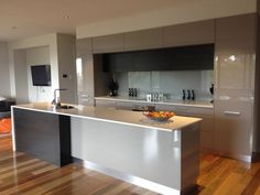 Grey @ Black Kitchen with Spotted Gum Timber Flooring Timber Flooring, Kitchen Flooring, Hardwood Floors, Spotted Gum Flooring, Mcdonald Jones Homes, Kitchen Colour Schemes, Wood Look Tile, Black Kitchens, Modern Kitchens