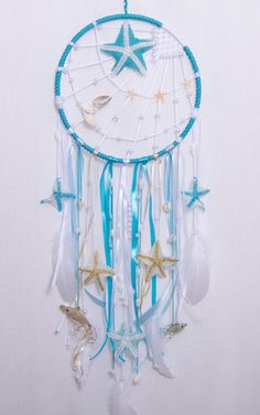 Large blue children's dream catcher nautical by imaginationUA