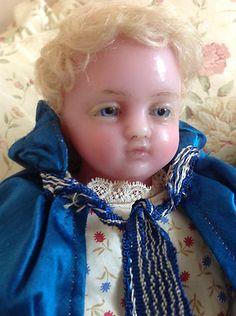 PRETTY signed Pierotti antique poured wax doll, original clothes,blue satin cape