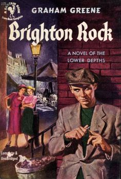 'Brighton Rock' by Graham Greene. Synopsis: Pinkie Brown is a hoodlum whose runs a protection racket at Brighton racecourse. Pinkie orders the murder of a rival which the police believe to be suicide. Ida Arnold sets out to find the truth & meets naive waitress Rose, who can prove that Fred was murdered. Pinkie marries Rose in an attempt to keep her quiet. Pinkie starts to become more desperate and violent as his gang doubt him & rivals take over his business.