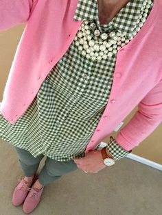 Fashion Over 40: J Crew cashmere cardi, J Crew shirt, AG jeans via Anthropologie, Bass Oxford Shoes, Arvo Watch, J Crew Pearls and Necklace