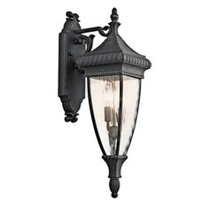 Add style to your home's exterior with this beautiful wall lantern from Kichler's Venetian Rain Collection. Black with Gold Finish Height; Width Accepts 2 x 60 Watt Bulbs (not included) Weight: 7 lbs. From the Venetian Rain Collection by Kichler Kichler Lighting, Outdoor Wall Sconce, Gold Candelabra, Rain Glass, Outdoor Walls, Wall Lights, Outdoor Wall Lantern, Wall Lantern, Lights