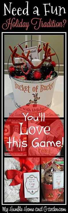 Need A Fun Holiday Tradition? You'll Love This Game! Lots of ideas for cheesy gifts, including a 'Bucket of Bucks with Rein-Beer!'
