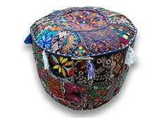 Navya Creations Round Patchwork Embroidered Multi Ottoman Pouf Bohemian Indian Decorative, Size 13 X 16 X 16 Inches