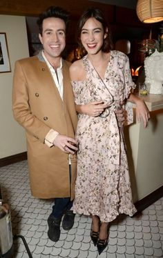 Nick Grimshaw and Alexa Chung (in Preen dress) - At the private dinner to celebrate the launch of Alexa's app Villoid and her December 2015 ELLE Magazine cover at South Kensington Club in London, England. (5 November 2015)