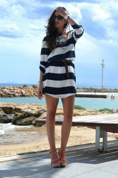Discover and organize outfit ideas for your clothes. Decide your daily outfit with your wardrobe clothes, and discover the most inspiring personal style Nautical Dress, Nautical Fashion, Nautical Style, Trendy Outfits, Cute Outfits, Fashion Outfits, Fashion Trends, Style Fashion, Fashion Ideas