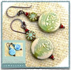 Earrings with my polymer clay beads.