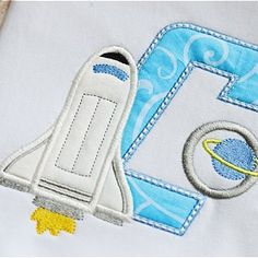 Boys Spaceship Monogram Applique Shirt, Rocket Shirt, Choose Initial Only, Initial with Name or Birth Number, Personalized Embroidery by MyBirthdayShirtShop on Etsy Custom Embroidery, Embroidery Applique, Machine Embroidery, Space Theme, Applique Designs, Embroidery Designs, Baby Scrapbook, 1st Birthday Girls, Square Quilt