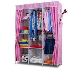 Folding Wardrobe Closet with Curtain Clothes Storage Organizer Cabinet Armoire X X (Pink striped) Folding Wardrobe, Wardrobe Closet, Spring Cleaning Organization, Diy Organization, Organizing, Closet Curtains, Simple Closet, Clothing Storage, Viera