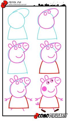 How to draw a Peppa pig! Art Drawings For Kids, Doodle Drawings, Drawing For Kids, Cartoon Drawings, Easy Drawings, Animal Drawings, Doodle Art, Drawing Sketches, Art For Kids