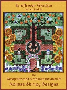 by Wendy Harwood  Melissa Shirley Designs  Sunflower Garden Kit(888)  SUNFLOWER GARDEN was developed for an Aristeia retreat and is available as a kit with canvas, threads, beads, and stitch guide. Contact Aristeia Needlepoint for more information. (310 476-6977)