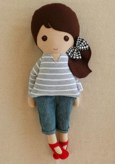 Reserved for Sky-Fabric Doll Rag Doll Brown Haired Girl in Gray Striped Top and Cropped Jeans