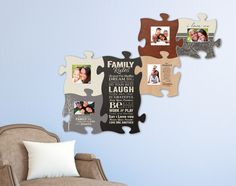 """Puzzle Piece Wall Decor puzzle """"piece"""" your family and friends together with this wall art"""