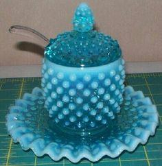 *FENTON ART GLASS ~ Blue Opalescent Jam Set