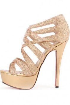 Gold Faux Leather Glitter Strappy Gladiator Platform Heels ...