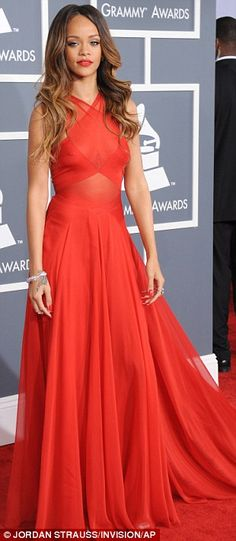 Rihanna on the red carpet at the Grammy Awards in downtown Los Angeles on Sunday night, February 10, 2013