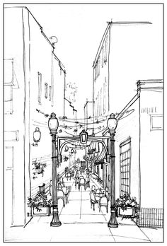 Conceptual rendering by Linda Klenczar for Placemaking grant application and Alley Design option