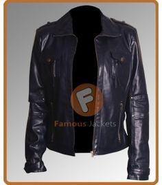 Slim Fit Women Navy Blue Leather Jacket