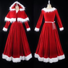 Santa And Ms Claus Costumes Mrs Claus Outfit, Mrs Santa Claus Costume, Mrs Claus Dress, Santa Costumes, Christmas Dress Women, Elf Clothes, Santa Dress, Santa Suits, Full Length Skirts