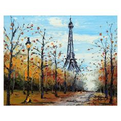 Paris Original Painting, Eiffel Tower, Paris in the Fall, France,... ❤ liked on Polyvore featuring home, home decor, wall art, french paintings, paris home decor, french home decor, autumn home decor and fall paintings