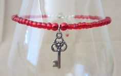 Red Glass Seed Bead Anklet w/Silver Key Charm by Pizzelwaddels, $8.97