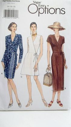 Misses' Plus Size Fashion Dress Vogue 9215 Sewing Pattern Wrap Dress with Straight Skirt, Sleeve Variations Full Figure Size 14 - 18 UNCUT