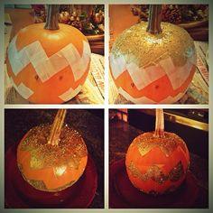 My Thanksgiving Chevron Pumpkin project is complete! #DIY #chevron #pumpkin #thanksgiving