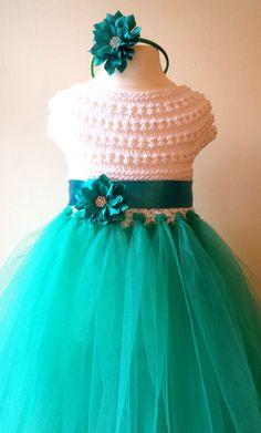 Flower girl dress, tutu dress, bridesmaid dress, princess dress, crochet top…