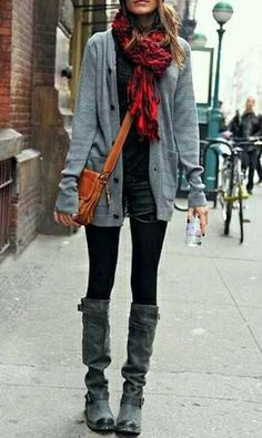 Fall Outfit With Plain Cardigan and Long Boots