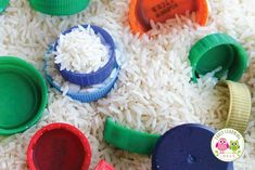 Plastic bottle caps are perfectly sized for little hands and can be used for so many things. Here are 25 ways to use plastic bottle caps for learning activities with kids. Perfect for preschool, pre-k, kindergarten, pre-kindergarten, prep, and SPED. Activities and ideas for math centers, literacy centers, reading centers, sensory bins, etc.