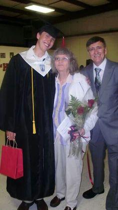 Joe with his Dad and Grandma at graduation