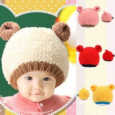 82bc7bb4b90 New Fashion Infants Baby Winter Hats Girls Boys Knitted Woolen Beanie Caps  Ear Bear Hats X5 H2-in Hats   Caps from Mother   Kids on Aliexpress.com