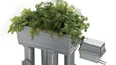 Star Wars AT-AT herb garden planter, made from cardboard and duct tape