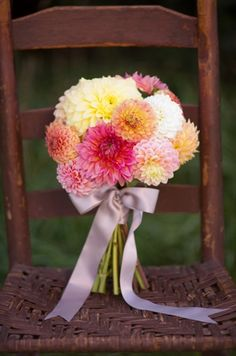 Edwards Edwards Hansen, I think this is a beautiful way to tie the ribbon. High on the neck so you can see them stem at the bottom, and with a bow. I want white ribbon. Wedding Centerpieces, Wedding Bouquets, Wedding Flowers, Wedding Themes, Wedding Vendors, Wedding Ideas, Royal Purple Wedding, Dahlia Centerpiece, Dahlia Bouquet