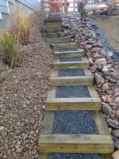 Timber Stairs On Steep Slope In New Construction Site Installed By Glacier View Landscape & Design, Inc. Erie, CO.