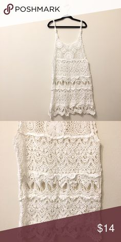 Crocheted Cover Up Beautiful crocheted coverup with intricate details! Perfect for the beach or pool. Purchased in Phuket, Thailand. 43 inches shoulder to hem. Too long for me. Worn one time. Swim Coverups