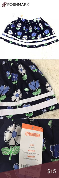 NWT Gymboree Mini Skirt NWT girls size 3T blue & white floral Gymboree mini skirt with bloomers. 100% cotton.   Comes from a smoke free home!   New With Tags! No rips, tears, holes or stains. Gymboree Bottoms Skirts