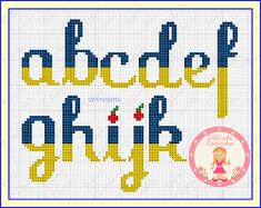 Cross Stitching, Cross Stitch Embroidery, Disney Letters, Cross Stitch Letters, Donia, Alphabet And Numbers, Hama Beads, Needlepoint, Stitch Patterns