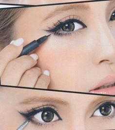 Makeup Tricks That Make Your Small Eyes Look BIGGER! If you have small eyes (like me) you can do this make-up to make them look bigger.If you have small eyes (like me) you can do this make-up to make them look bigger. Cat Eye Makeup, No Eyeliner Makeup, Kiss Makeup, Hooded Eye Makeup, Asian Makeup, Eyeliner Liquid, Korean Makeup, Eyeliner Styles, Japanese Makeup