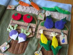 Lots of photos and free pattern. Farmer's Market Quiet Book Page