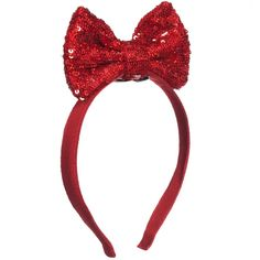 Simonetta Girls Red Hairband with Sequined Bow