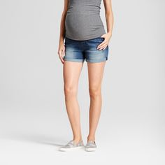 Maternity Crossover Panel Jean Shorts - Isabel Maternity by Ingrid & Isabel Dark Wash 2, Women's, Blue