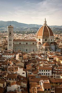 Florence Italy - a wonderful place to visit - the il Duomo is where Michelangelou is buried - you can see his tomb). View of il Duomo in Florence, Italy - Firenze, Italia
