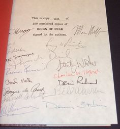 Signed limited First edition of Reign of Fear Fiction and Film of Stephen King