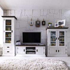 Landhausstil wohnzimmermöbel  Landhaus Wohnwand in Weiß Grau aus Fichte bei Pharao24.de finden ...
