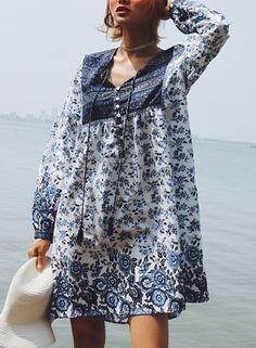 Vintage Blue Floral Print Lantern Sleeve Lace-Up Dress With Tassels  AZBRO.com   7aba71cf81a13