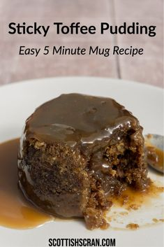 Microwave Sticky Toffee Pudding in a Mug - Scottish Scran - Sticky Date Pudding, British Desserts, Scottish Desserts, English Dessert Recipes, Pudding In A Mug, Almond Flour Cakes, Self Saucing Pudding, Homemade Toffee, Cake