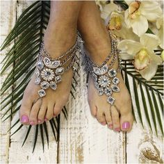 "Barefoot sandals, bohemian wedding, boho style wedding, foot jewelry, beach wedding, bridal ""PIN this pretty for later!'"